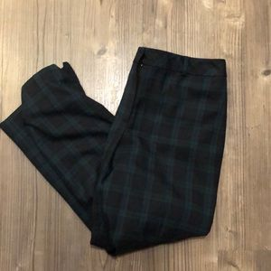 Talbots 14 Heritage green blue plaid wool pants